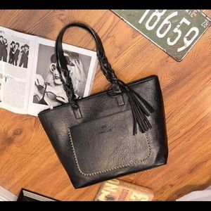 Stunning Genuine Black Leather Tassel Tote Bag